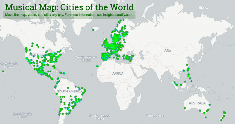 The local music scene mapped out by Spotify