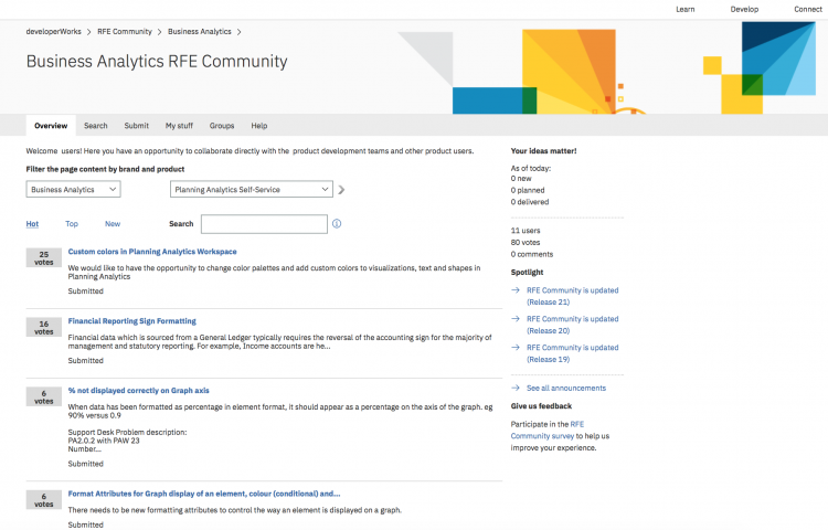 Planning Analytics RFE Community