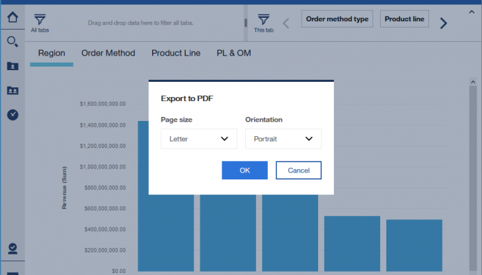 Export to PDF (Cognos Analytics R10)