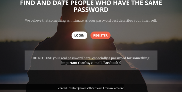 Some serious data - Words of heart - dating site for people with the same passwords