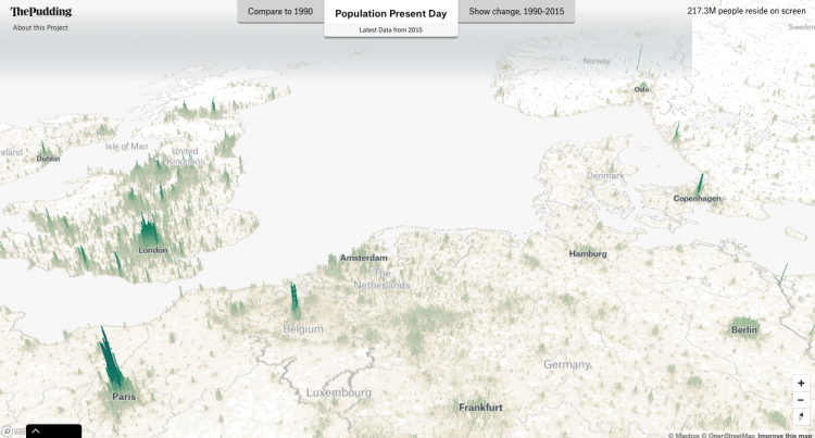 Human Terrain - visualising the worlds population in 3D